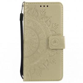 Bloemen Book Case Samsung Galaxy S7 Hoesje - Goud