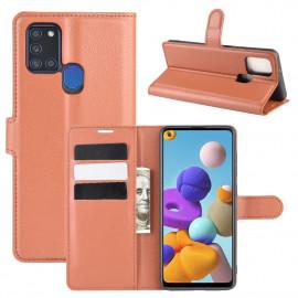 Book Case Samsung Galaxy A21s Hoesje - Bruin