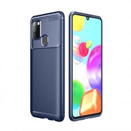 Carbon Fiber TPU Case Samsung Galaxy A21s Hoesje - Blauw