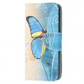 Book Case Huawei Y6P Hoesje - Blauwe Vlinder