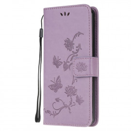 Vlinder Book Case Huawei Y6P Hoesje - Lila