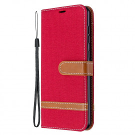 Denim Book Case Samsung Galaxy A31 Hoesje - Rood