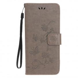Bloemen Book Case iPhone 12 Mini Hoesje - Grijs