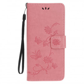 Bloemen Book Case iPhone 12 Mini Hoesje - Pink