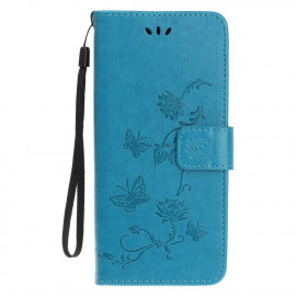 Bloemen Book Case iPhone 12 Mini Hoesje - Blauw