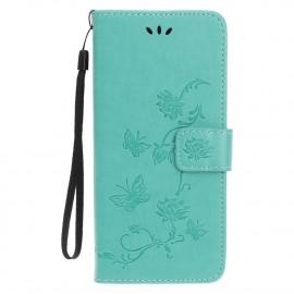 Bloemen Book Case iPhone 12 Pro Max Hoesje - Cyan
