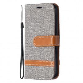 Denim Book Case iPhone 12 Mini Hoesje - Grijs