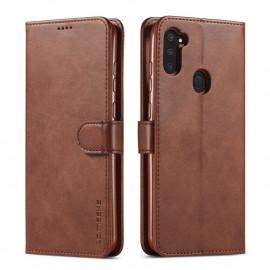 Luxe Book Case Samsung Galaxy M11 / A11 Hoesje - Donkerbruin