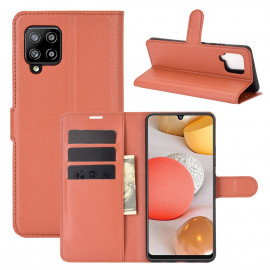 Book Case Samsung Galaxy A42 Hoesje - Bruin