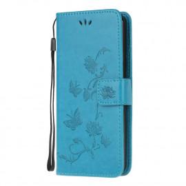 Bloemen Book Case Samsung Galaxy A42 Hoesje - Blauw