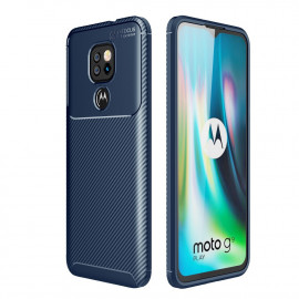 Carbon Fiber TPU Case Motorola Moto G9 Play Hoesje - Blauw
