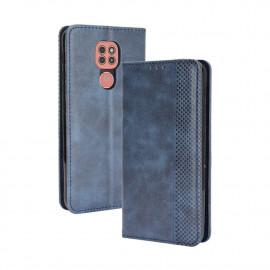 Vintage Book Case Motorola Moto E7 Plus Hoesje - Blauw