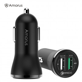 Quick Charge 3.0 / QC 3.0 Dual Autolader - Zwart