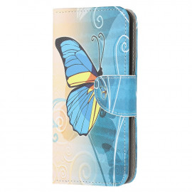 Book Case Motorola Moto E7 Hoesje - Blauwe Vlinder