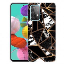 Marmer TPU Samsung Galaxy A32 5G Hoesje - Zwart / Goud