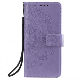 Bloemen Book Case Xiaomi Redmi Note 9T Hoesje - Paars