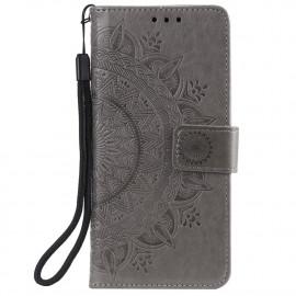 Bloemen Book Case Xiaomi Redmi Note 9T Hoesje - Grijs