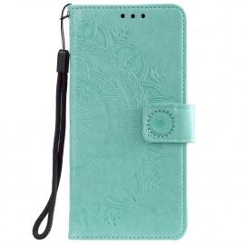 Bloemen Book Case Xiaomi Redmi Note 9T Hoesje - Cyan
