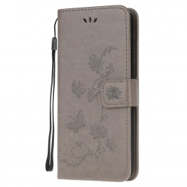 Bloemen Book Case Samsung Galaxy S21 Ultra Hoesje - Grijs
