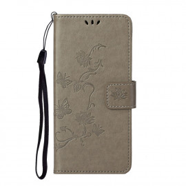 Bloemen Book Case Samsung Galaxy S21 Hoesje - Grijs