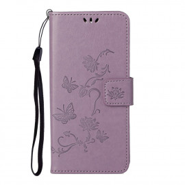 Bloemen Book Case Samsung Galaxy S21 Hoesje - Paars
