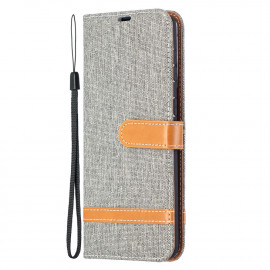 Denim Book Case Samsung Galaxy S21 Plus Hoesje - Grijs
