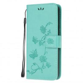 Bloemen Book Case Samsung Galaxy A12 Hoesje - Cyan