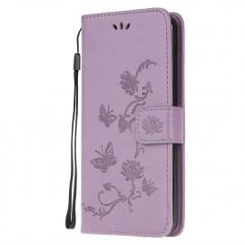 Bloemen Book Case Samsung Galaxy A12 Hoesje - Paars