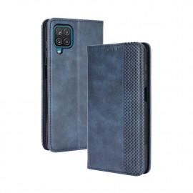 Vintage Book Case Samsung Galaxy A12 Hoesje - Blauw