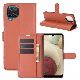 Book Case Samsung Galaxy A12 Hoesje - Bruin
