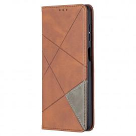 Geometric Book Case Samsung Galaxy A12 Hoesje - Donkerbruin