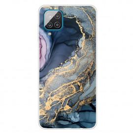 Marmer TPU Samsung Galaxy A12 Hoesje - Blauw / Goud
