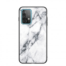 Marble Glass Cover Samsung Galaxy A52 Hoesje - Wit