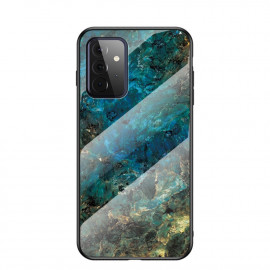 Marble Glass Cover Samsung Galaxy A72 Hoesje - Emerald / Goud