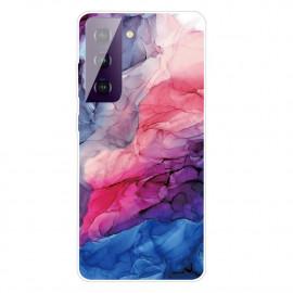 Marmer TPU Samsung Galaxy S21 Plus Hoesje - Roze / Blauw