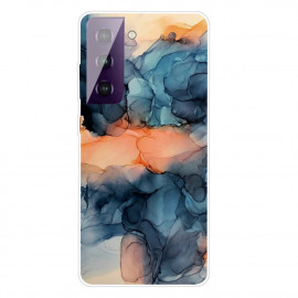 Marmer TPU Samsung Galaxy S21 Plus Hoesje - Blauw / Oranje