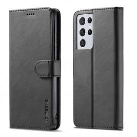 Luxe Book Case Samsung Galaxy S21 Ultra Hoesje - Zwart