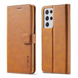 Luxe Book Case Samsung Galaxy S21 Ultra Hoesje - Bruin