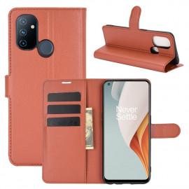 Book Case OnePlus Nord N100 Hoesje - Bruin