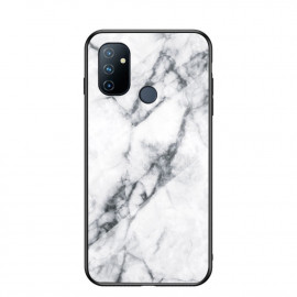 Marble Glass Cover OnePlus Nord N100 Hoesje - Wit