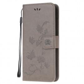 Bloemen Book Case Xiaomi Poco X3 Hoesje - Grijs