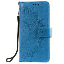 Bloemen Book Case Motorola Moto G30 Hoesje - Blauw