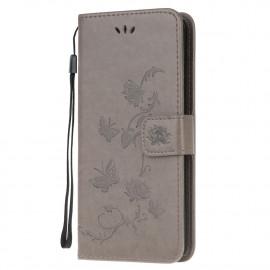 Bloemen Book Case Motorola Moto G9 Play Hoesje - Grijs