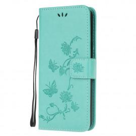 Bloemen Book Case Motorola Moto G9 Play Hoesje - Cyan
