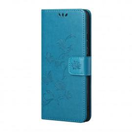 Bloemen Book Case Nokia X10 Hoesje - Blauw