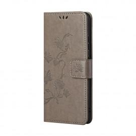 Bloemen Book Case Nokia X10 Hoesje - Grijs