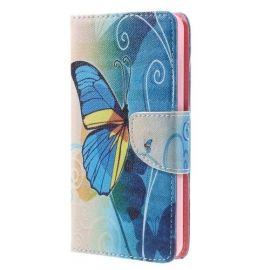 Portefeuille Hoesje Wiko Lenny 3 - Blauwe Vlinder