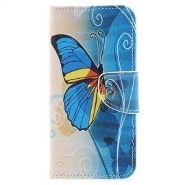 Book Case Hoesje Samsung Galaxy A8 (2018) - Blauwe Vlinder