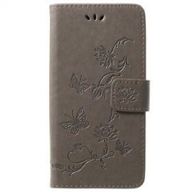 Book Case Hoesje Bloemen Samsung Galaxy S9 - Grijs