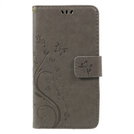 Book Case Hoesje Bloemen Huawei P8 Lite (2017) - Grijs